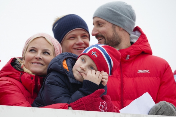 Princess Mette Marit, Prince Sverre, Marius Borg Høiby and Prince Haakon, March 9, 2014 | The Royal Hats Blog