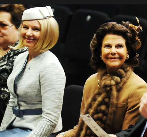 Latvian First Lady Dace Seisuma and Queen Silvia, March 26, 2014 | The Royal Hats Blog