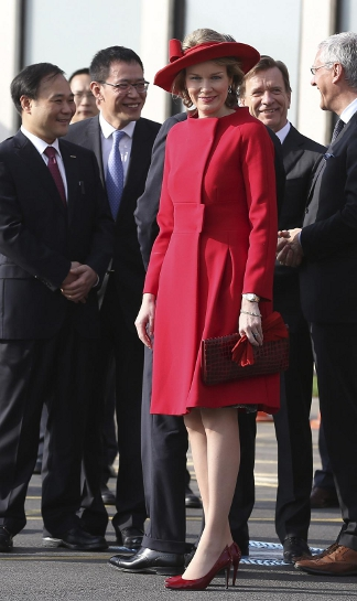 Queen Mathilde, April 1, 2014 in Fabienne Delvigne | The Royal Hats Blog