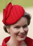 Queen Mathilde, February 17, 2014 in Fabienne Delvigne | The Royal Hats Blog