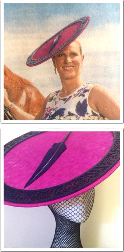 Zara Phillips Tindall, January 10, 2015 in Danica Erard | Royal Hats