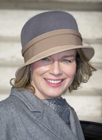 Queen Mathilde, February 12, 2015 in Fabienne Delvigne | Royal Hats