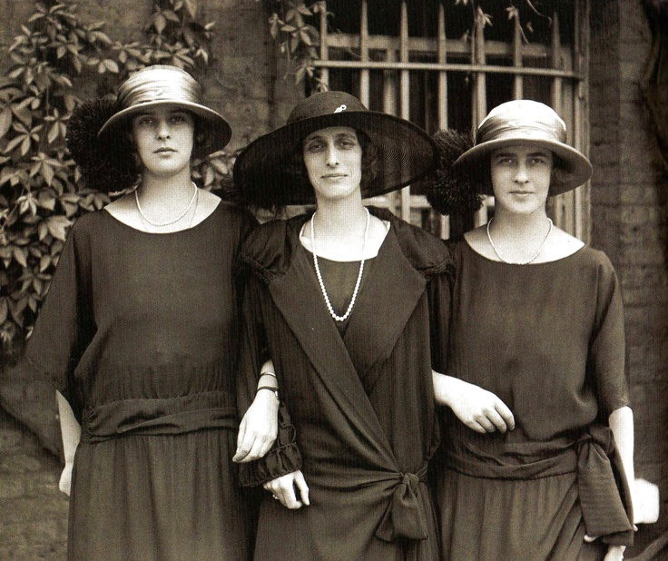 Lady Louise Mountbatten with Princesses Princess Theodora and Margarita of Greece and Denmark  July 1, 1923  | Royal Hats