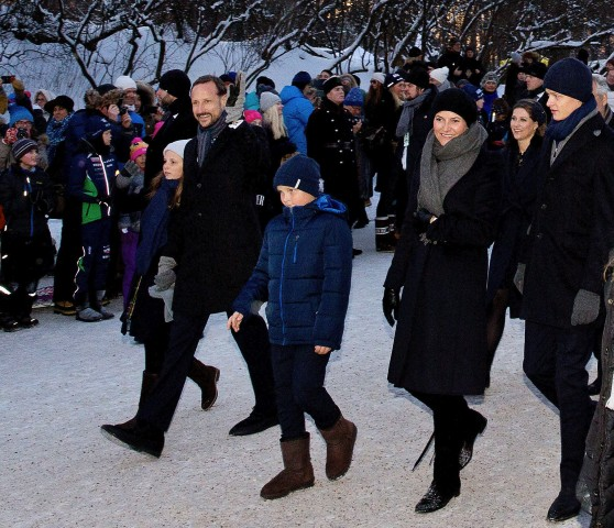 17 Jan 2016, Oslo, Norway --- Oslo, 17-01-2016 Crown Prince Haakon, Crown Princess Mette-Marit and Princess Ingrid Alexandra, Prince Sverre Magnus, Marius Borg Høiby and Princess Märtha Louise 25th anniversary of the ascension to the Norwegian throne of Their Majesties King Harald and Queen Sonja The Royal Family attends the events at The Palace Square (Slottsplassen) RPE/Albert Nieboer/Netherlands OUT - NO WIRE SERVICE - --- Image by © Albert Nieboer/dpa/Corbis