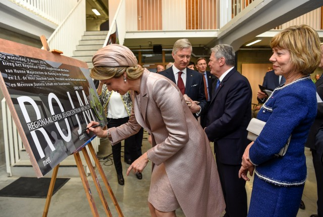 Queen Mathilde, March 9, 2016 in Fabienne Delvigne | Royal Hats