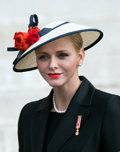 Princess Charlene, November 19, 2016 in Rachel Trevor Morgan | Royal Hats