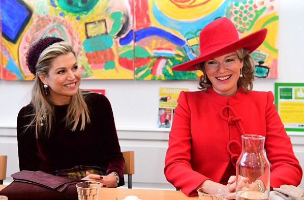 Queen Mathilde & Queen Máxima , Nov 29, 2016 in Fabienne Delvigne | Royal Hats