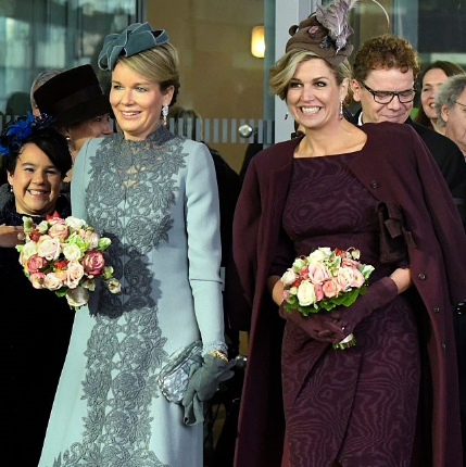 Queen Mathilde & Queen Máxima, Nov 30, 2016 in Fabienne Delvigne | Royal Hats