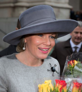 Queen Mathilde, Feb 17, 2017 in Fabienne Delvigne | Royal Hats
