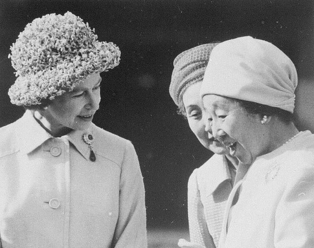 Queen Elizabeth and Empress Nagano, May 7, 1975 | Royal Hats