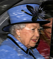 0646e915 Queen Elizabeth's lime and navy cloche with feathers and straw leaves worn  in Scotland Sep 2. Queen Elizabeth's cornflower blue hat with black trim  and ...